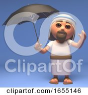 Cartoon Holy Jesus Christ Offers Shelter Under An Umbrella 3d Illustration