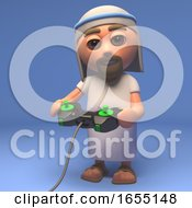Cartoon Holy Jesus Christ Playing A Videogame 3d Illustration