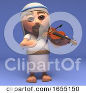 Cartoon Holy Jesus Christ Playing A Violin 3d Illustration