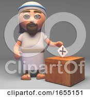Poster, Art Print Of Cartoon Jesus Christ Son Of God Casts His Vote In The Election 3d Illustration
