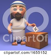 Poster, Art Print Of Cartoon Holy Jesus Christ Casts His Vote For Peace 3d Illustration