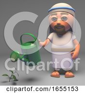 Holy Jesus Chris Son Of God Waters The Garden Of The Soul 3d Illustration
