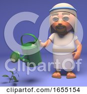 Cartoon Holy Jesus Christ Watering The Plants 3d Illustration