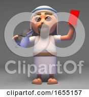 Cartoon Jesus Christ The Messiah Hands Out A Red Card Penalty 3d Illustration