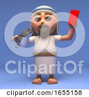 Cartoon Holy Jesus Christ Gives The Red Card 3d Illustration
