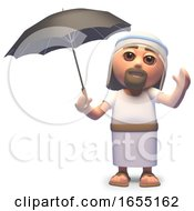 Jesus Christ Shelters From A Storm Under An Umbrella 3d Illustration