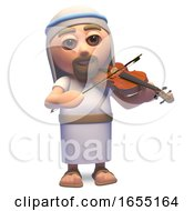 Jesus Christ The Saviour Playing The Violin 3d Illustration