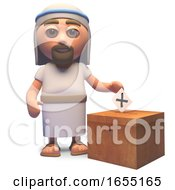 Jesus Christ Casts His Vote In The Election 3d Illustration