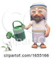 Holy Jesus Christ Watering His Garden With A Watering Can 3d Illustration