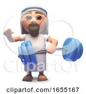 Jesus Christ Doing Some Weight Training 3d Illustration