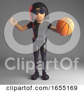 Cool Goth Girl In Latex Playing With A Basketball 3d Illustration