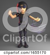 Sexy Goth Girl In Leather Carrying A Shopping Basket 3d Illustration