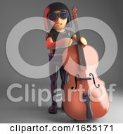 Cultured Goth Girl Relaxes By Playing The Double Bass 3d Illustration