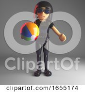 Leather Clad Goth Girl Plays With A Beachball How Natural 3d Illustration