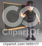 Leather Clad Gothic Girl Teaching At The Blackboard 3d Illustration