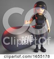 Cartoon Latex Goth Girl Says Its The Bomb I Believe Her 3d Illustration