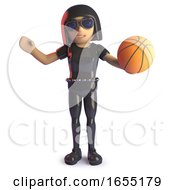 Gothic Girl In Leather Playing With A Baskeball 3d Illustration