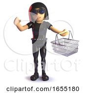 Gothic Girl In Latex Shopping With Her Basket 3d Illustration by Steve Young