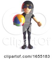 Goth Girl Is On Holiday And Playing With A Beach Ball 3d Illustration by Steve Young