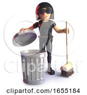 Goth Girl Cleaning Up With Broom And Trash Can 3d Illustration by Steve Young