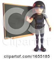 Goth Girl In Leather Teaching At The Chalkboard 3d Illustration