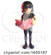 Cool Goth Girl Reading A Book For Her Studies 3d Illustration