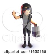 Goth Girl Businesswoman With Briefcase Waving 3d Illustration