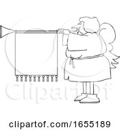 Cartoon Black And White Female Christmas Angel Blowing A Horn With A Banner