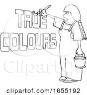 Cartoon Black And White Happy Female Painter Painting True Colors