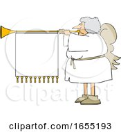 Cartoon Female Christmas Angel Blowing A Horn With A Banner