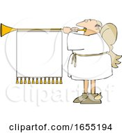 Cartoon Male Christmas Angel Blowing A Horn With A Banner