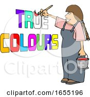 Poster, Art Print Of Cartoon Happy Female Painter Painting True Colors