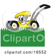 Yellow Lawn Mower Mascot Cartoon Character Passing By And Mowing Grass