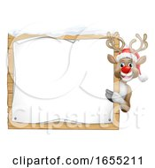 Reindeer In Santa Claus Hat Christmas Sign Cartoon