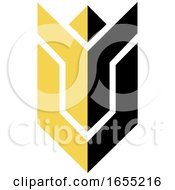 Abstract Yellow And Black Cheering Person Icon