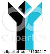 Abstract Blue And Black Cheering Person Icon