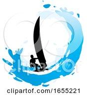 Silhouetted Kitesurfer Or Kiteboarder Over Blue