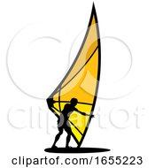 Poster, Art Print Of Silhouetted Kitesurfer Or Kiteboarder