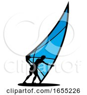 Silhouetted Kitesurfer Or Kiteboarder
