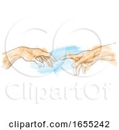 Poster, Art Print Of Creation Of Adam Hand Drawn Watercolor Painting