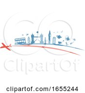 Poster, Art Print Of Airplane With A Trail Of United Kingdom Travel Icons