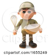 Brave Army Soldier Baking A Cake With Mixing Bowl And Whisk