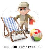Cartoon Army Soldier Drinks Next To A Deckchair And Beachball