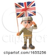 Brave Army Soldier Salutes As He Holds The British Flag by Steve Young