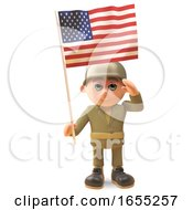 Brave Army Soldier Salutes As He Holds The American Flag by Steve Young