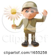 Brave Army Soldier Waves While Holding A Flower