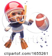 Snorkel Diver In American Football Helmet Watches A Ball Float To The Surface