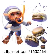 Various Burgers Sink In The Water As Hungry Cartoon Snorkel Diver Looks On