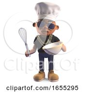 Hungry Black Hip Hop Rapper In Chefs Hat Mixing A Cake In A Bowl With A Whisk