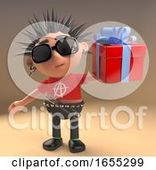 Generous Punk Rock Cartoon Character With A Gift Wrapped Present